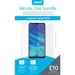 Minute One Glass Screen Protector + Clear Case Bundle - P Smart 2019